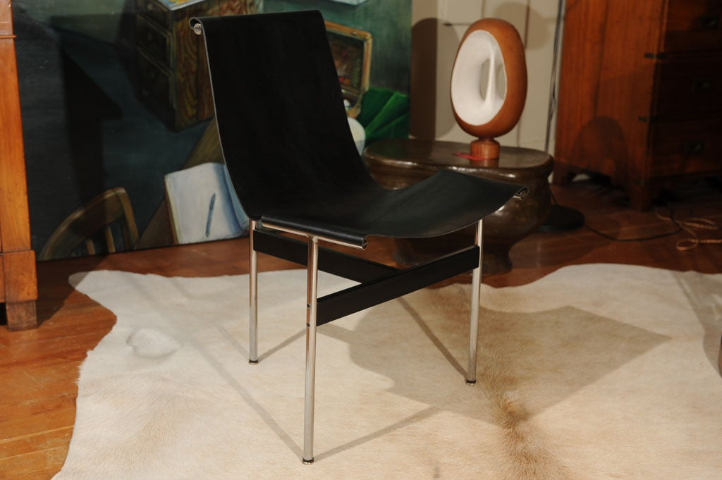 Laverne International T Chair with Black Leather Sling Seat image 2