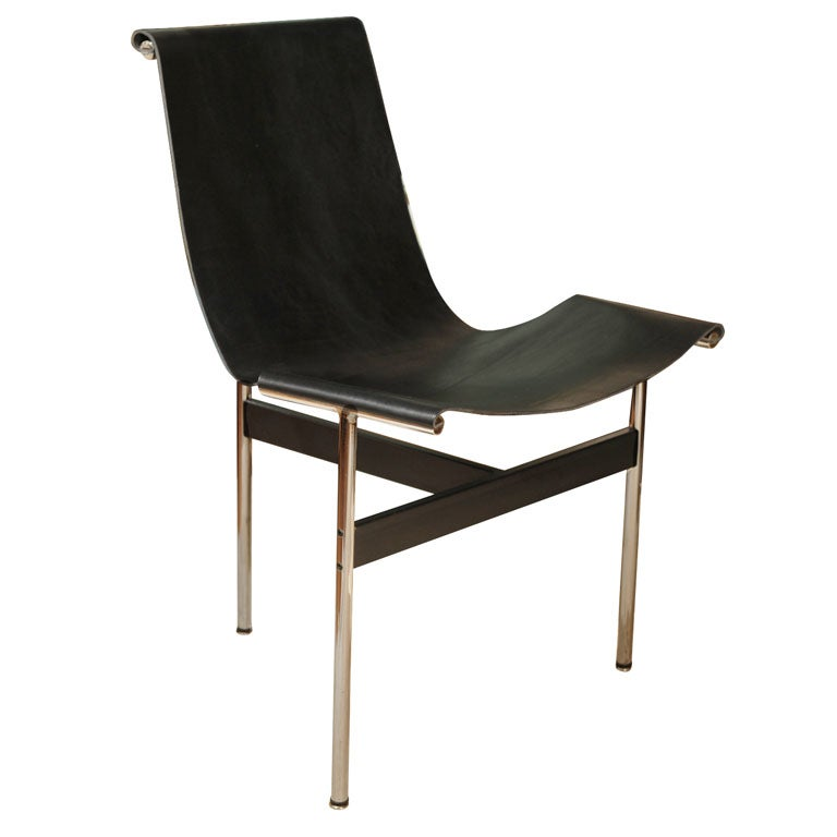 Laverne International T Chair with Black Leather Sling Seat
