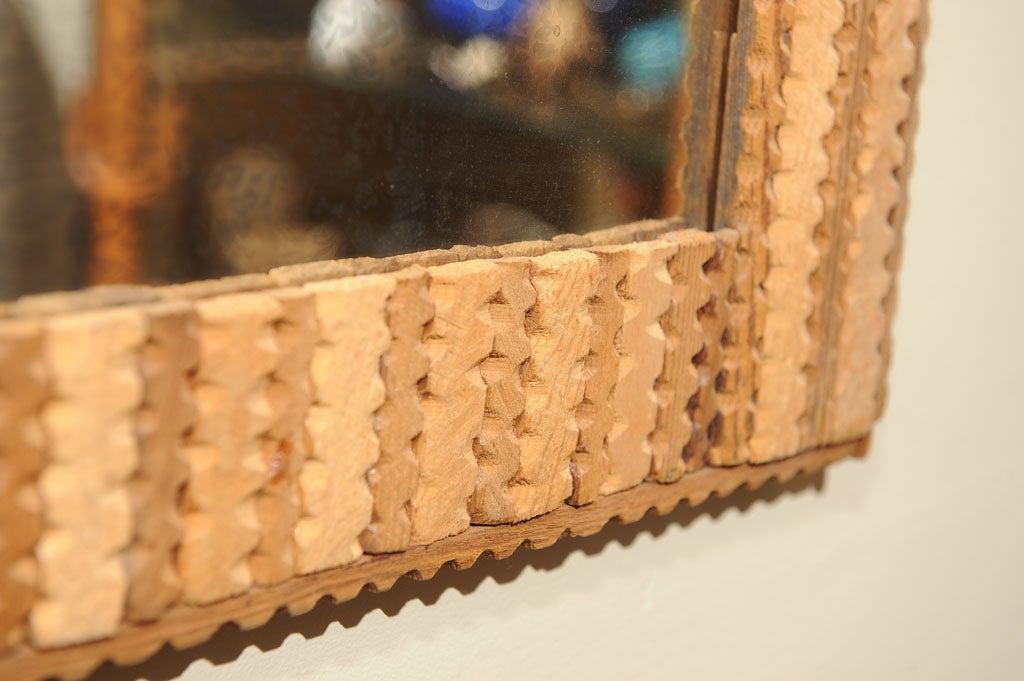 Tramp art folksy chip carved framed mirror at stdibs