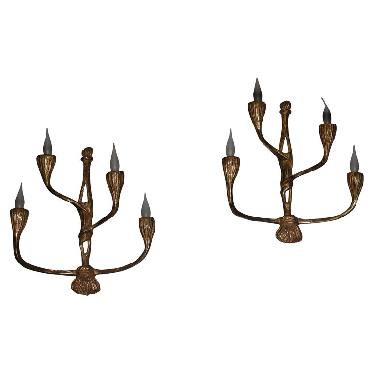 Pair of 1950s Bronze Sconces