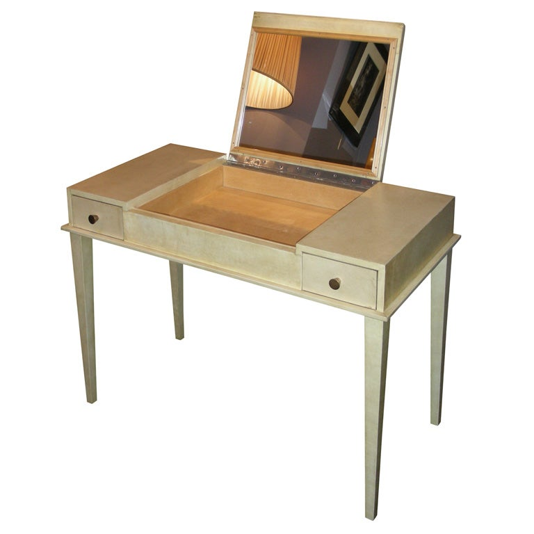 Small 1940s Vanity Table By Jacques Adnet Clad In Parchment At 1stdibs