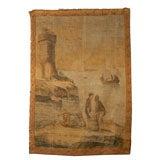 19th Century Italian Oil Canvas Panel with Harbor Scene