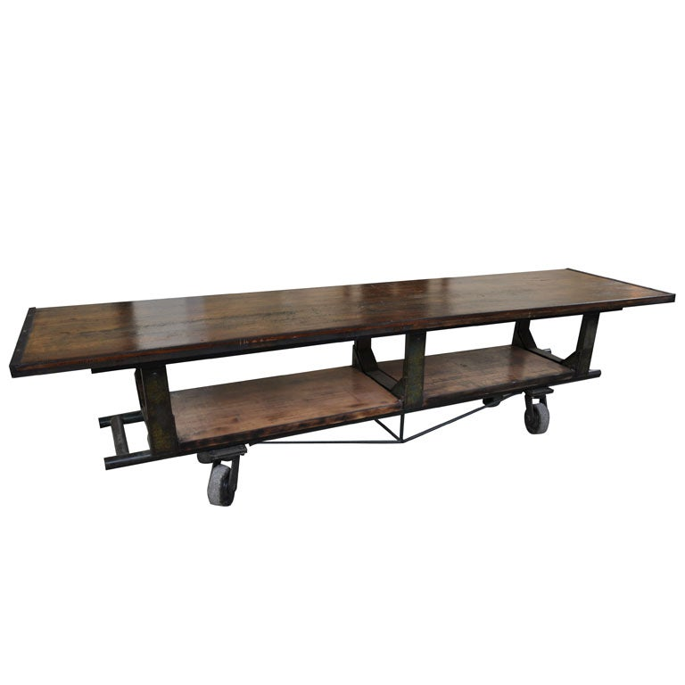 Industrial Coffee Table On Wheels At 1stdibs: Vintage Industrial 'Wheel Cart' At 1stdibs