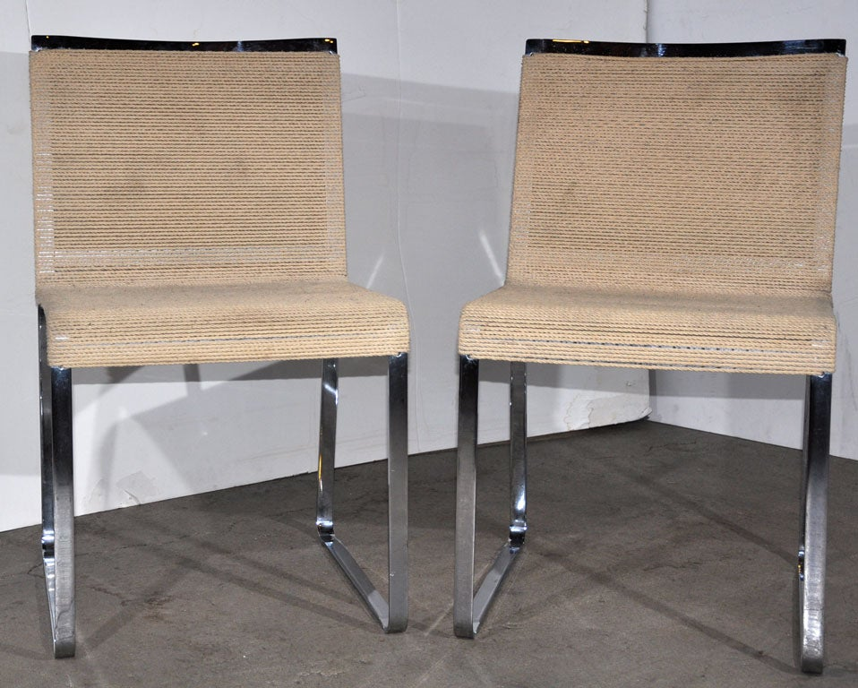 California: pair of chrome and string chairs by Van Keppel Green.