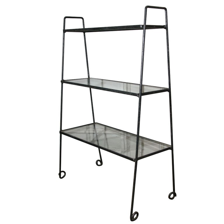 C1935 cast and wrought iron 3 tier etagere with glass shelves at 1stdibs - Etagere roche bobois ...
