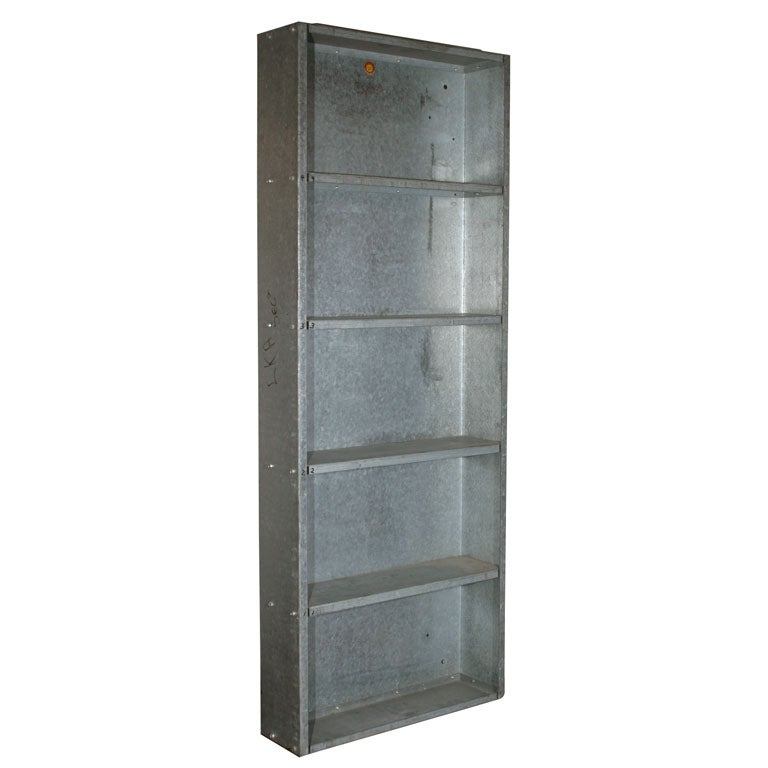Pair Of Vintage Galvanized Steel Industrial Wall Shelves