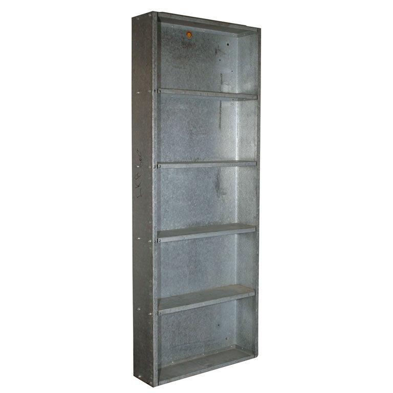 Pair Of Vintage Galvanized Steel Industrial Wall Shelves