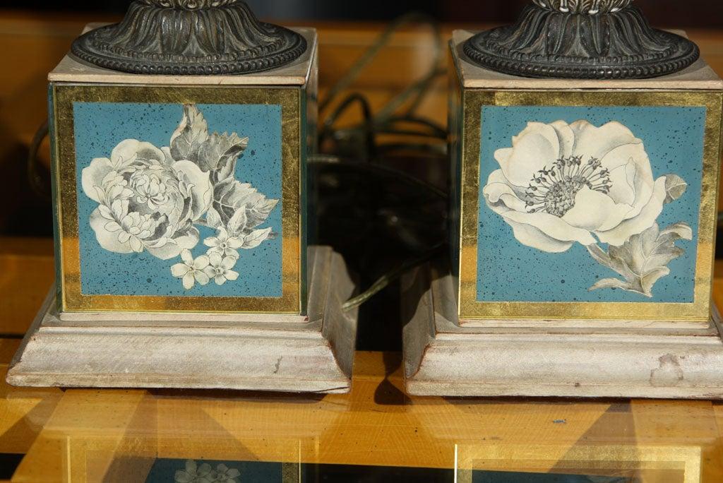Pair of Églomisé Lamps For Sale 3