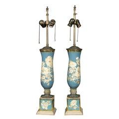 Pair of Églomisé Lamps