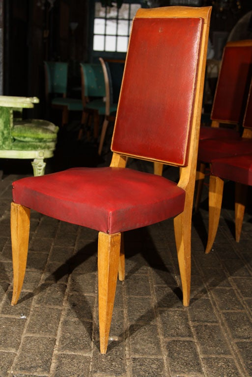 Set of Four Red French Chairs In Good Condition For Sale In Stamford, CT