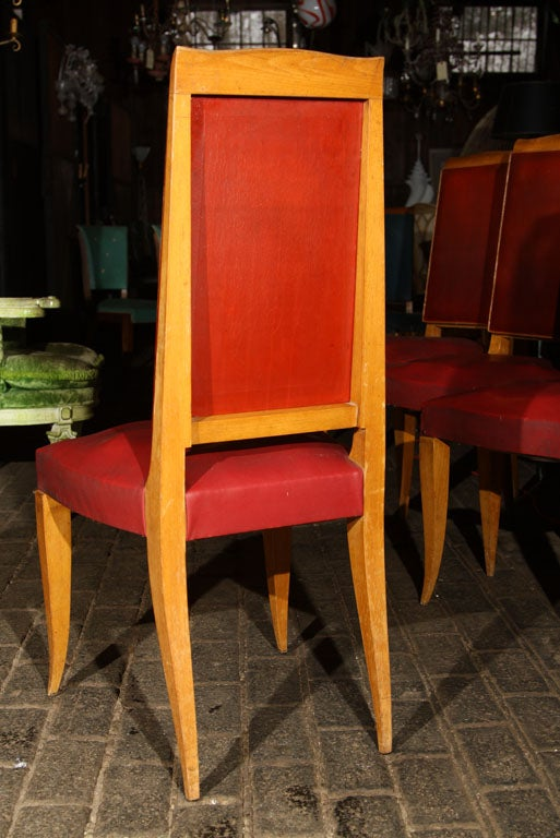 Mid-20th Century Set of Four Red French Chairs For Sale