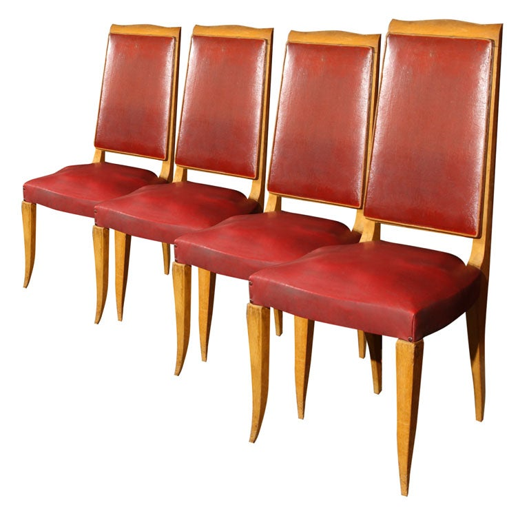 Set of Four Red French Chairs For Sale