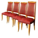 Set of Four Red French Chairs