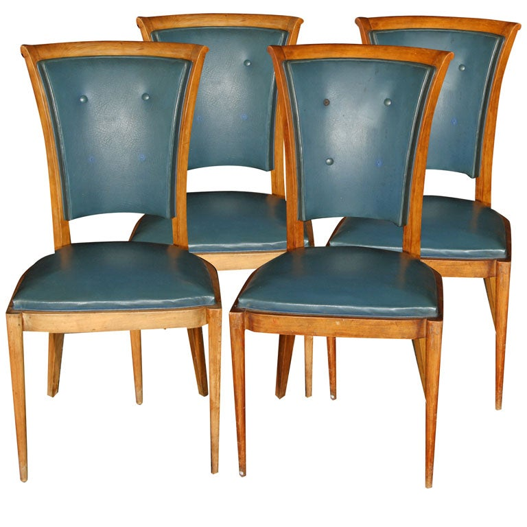 Set of Four French Chairs with Button Backs For Sale