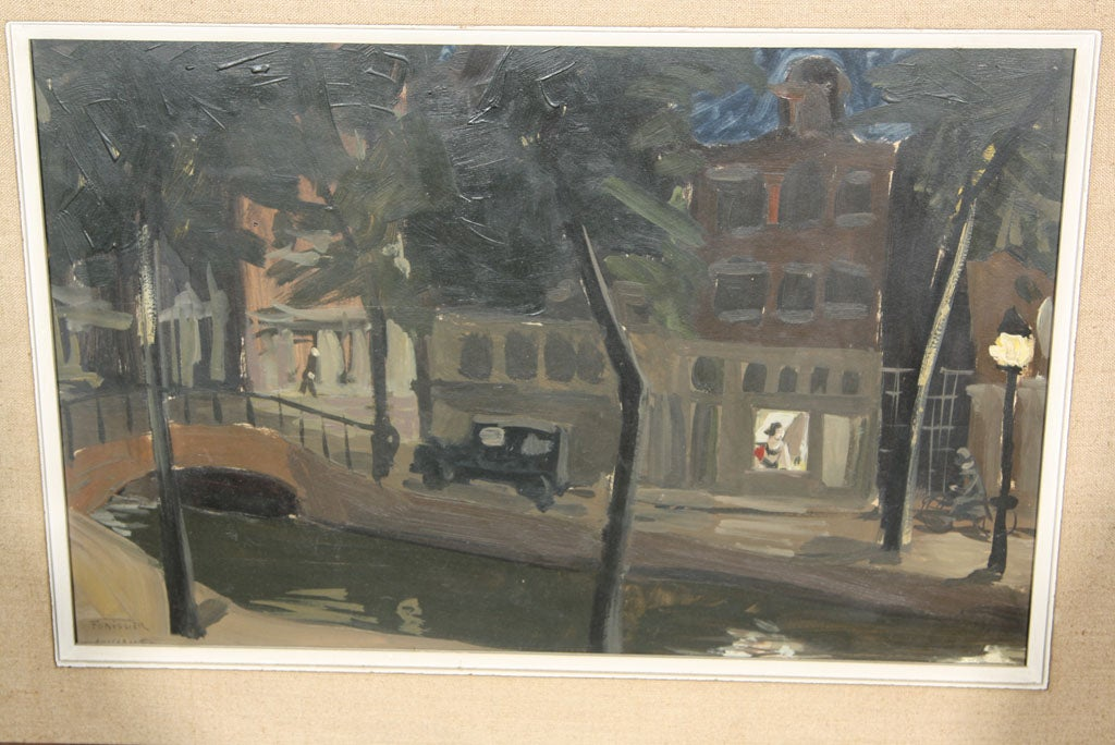 Dutch Signed Oil Painting of Amsterdam For Sale
