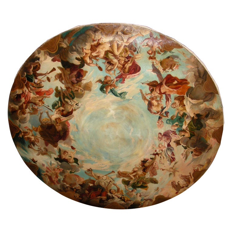 1870s round ceiling painting of the allegory of music at for Alex paint porcelain jewelry