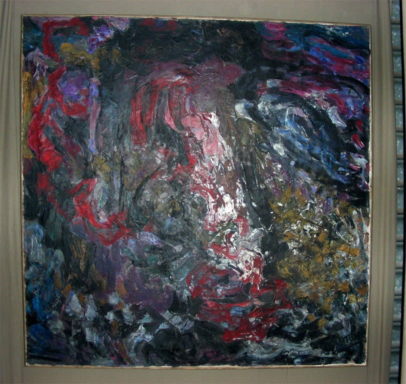 Large abstract painting signed on lower level by Asimon (?), pigments applied with a pallette knife.
