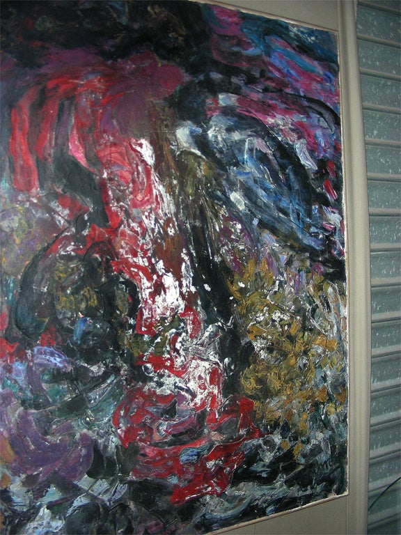 French Large Painting Signed by Asimon and Dated 1960 For Sale