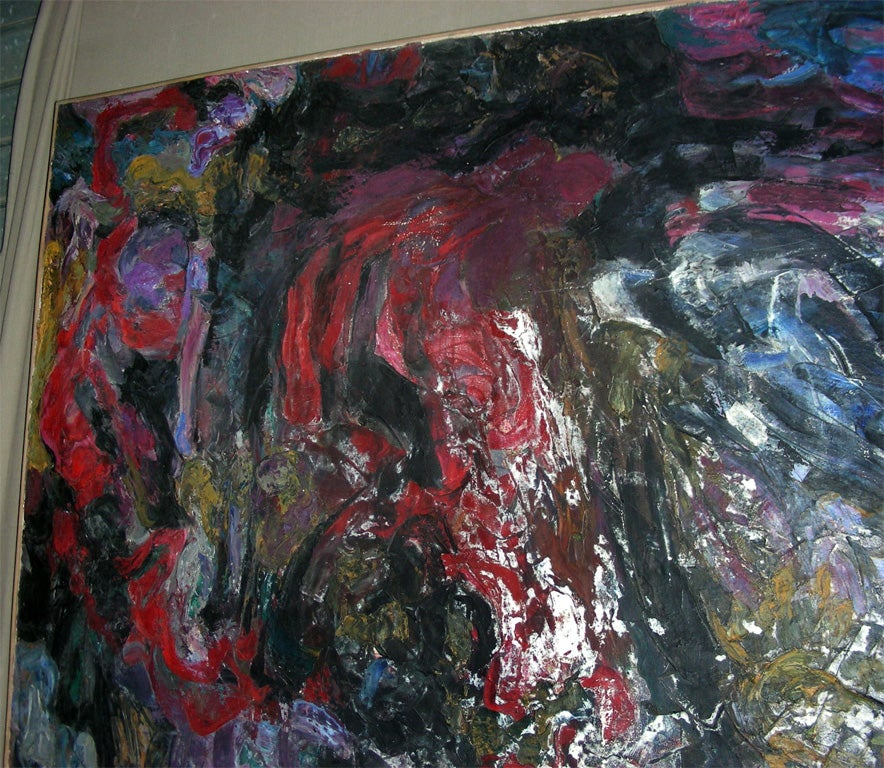 Large Painting Signed by Asimon and Dated 1960 In Good Condition For Sale In Saint-Ouen, FR