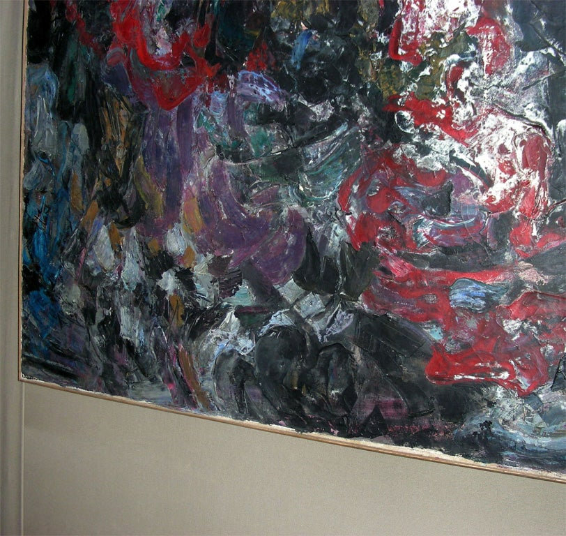 Mid-20th Century Large Painting Signed by Asimon and Dated 1960 For Sale