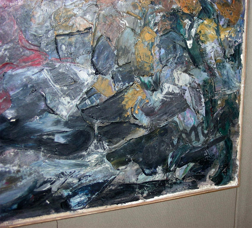 Large Painting Signed by Asimon and Dated 1960 For Sale 2