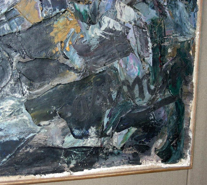 Large Painting Signed by Asimon and Dated 1960 For Sale 3