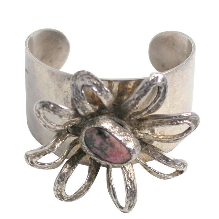 Wide silver cuff bracelet