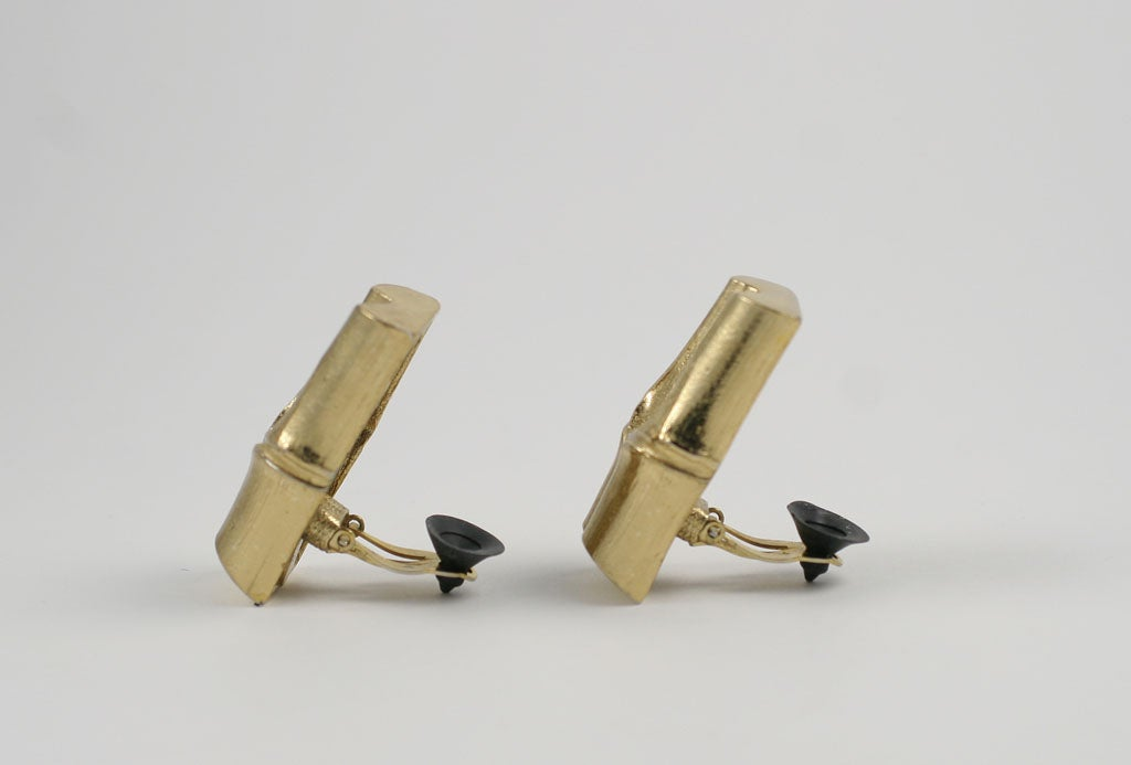 YSL Faux Bamboo Gilt Earrings, Costume Jewelry In Excellent Condition For Sale In Stamford, CT