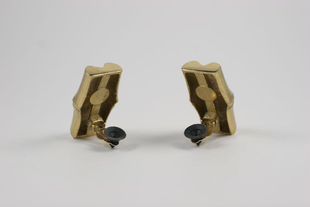 Women's YSL Faux Bamboo Gilt Earrings, Costume Jewelry For Sale