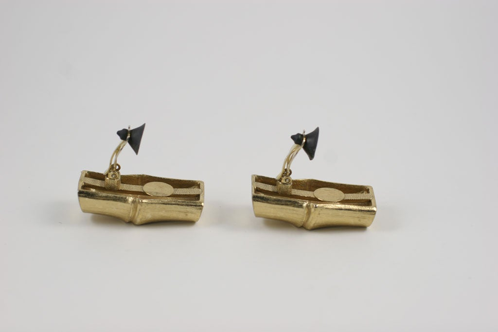 YSL Faux Bamboo Gilt Earrings, Costume Jewelry For Sale 1