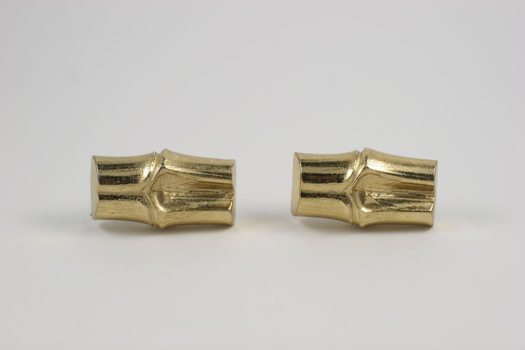 YSL Faux Bamboo Gilt Earrings, Costume Jewelry For Sale 2