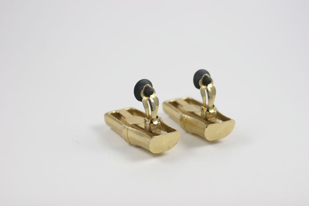 YSL Faux Bamboo Gilt Earrings, Costume Jewelry For Sale 5