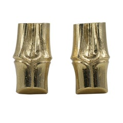 YSL Faux Bamboo Gilt Earrings, Costume Jewelry