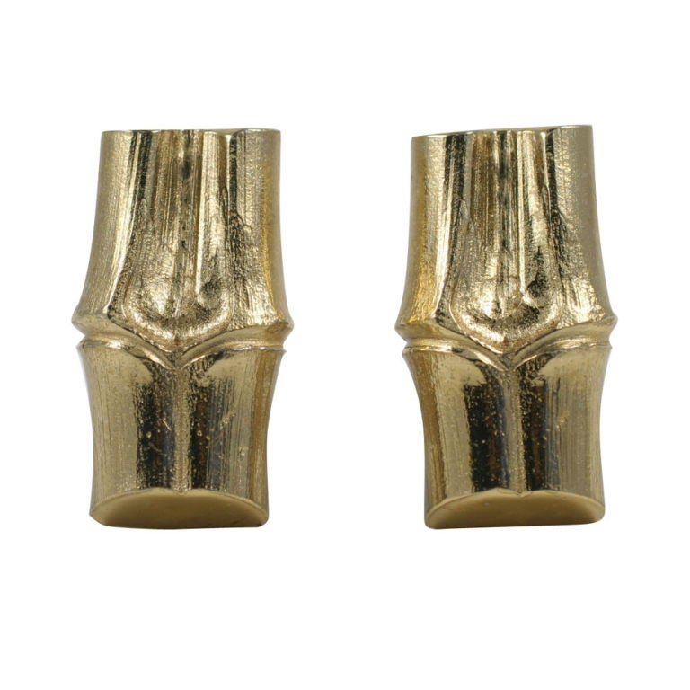 YSL Faux Bamboo Gilt Earrings, Costume Jewelry For Sale