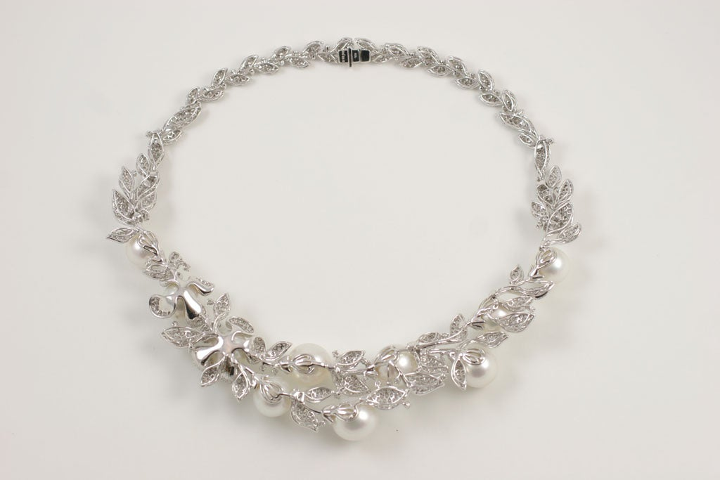 Diamond and Pearl necklace 8