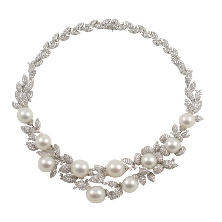 Diamond and Pearl necklace 1