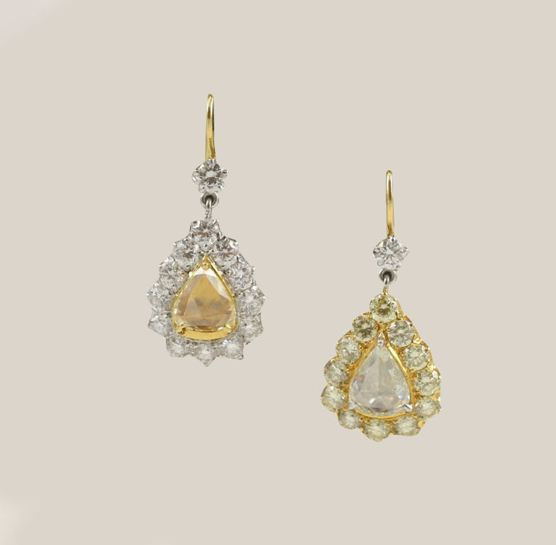 Rose Cut  Pear Shaped Diamond Earrings In Excellent Condition For Sale In New York, NY