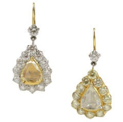 Rose Cut  Pear Shaped Diamond Earrings
