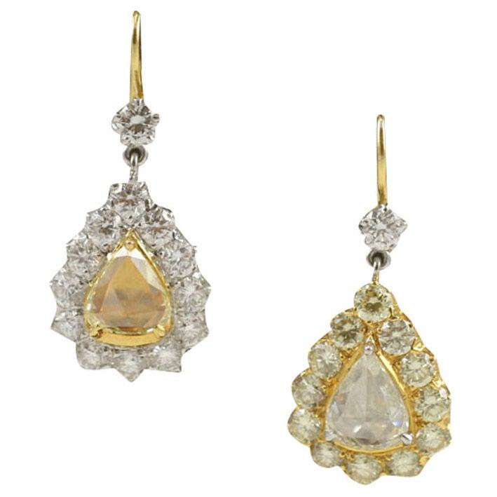 Rose Cut  Pear Shaped Diamond Earrings
