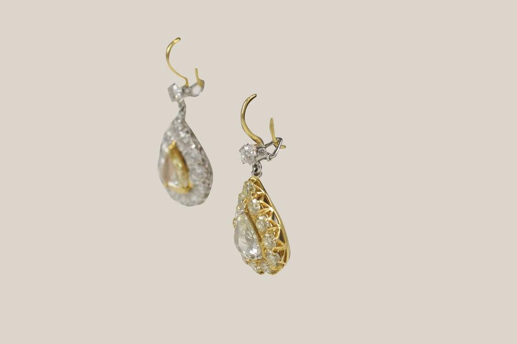 Women's Rose Cut  Pear Shaped Diamond Earrings For Sale