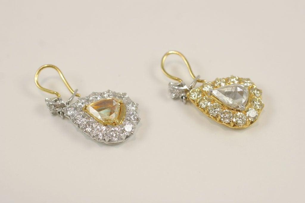 Rose Cut  Pear Shaped Diamond Earrings For Sale 1