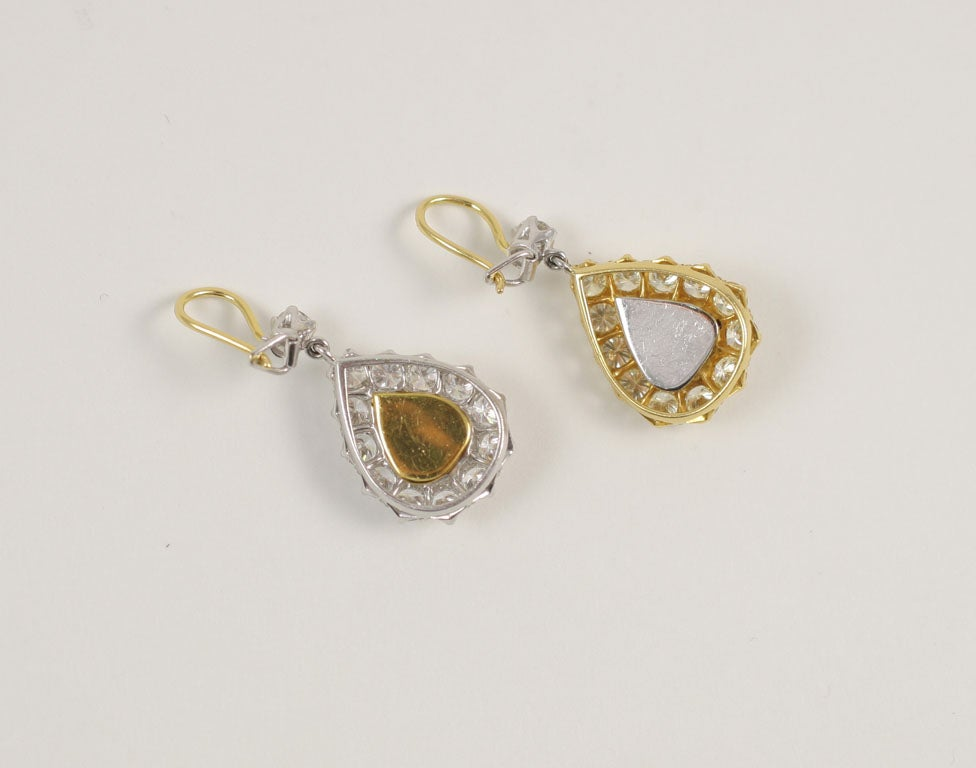 Rose Cut  Pear Shaped Diamond Earrings For Sale 2