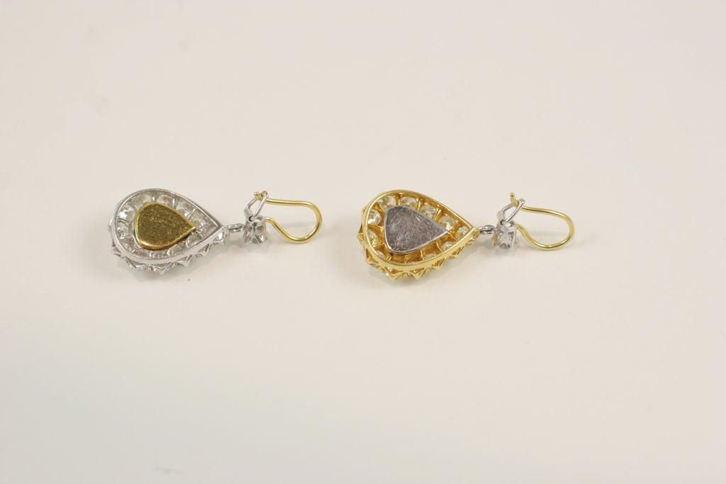 Rose Cut  Pear Shaped Diamond Earrings For Sale 3