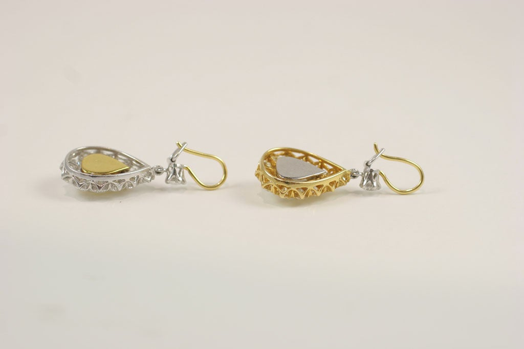 Rose Cut  Pear Shaped Diamond Earrings For Sale 4