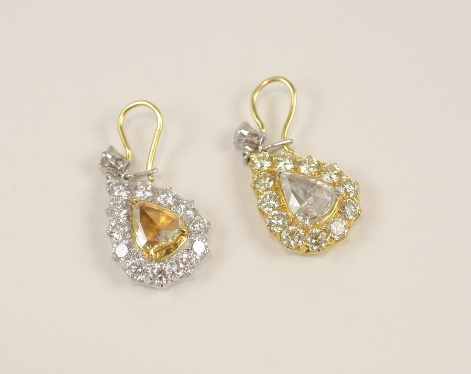 18K Yellow and White Rose Cut Diamond Pear Shaped Drop Earrings.