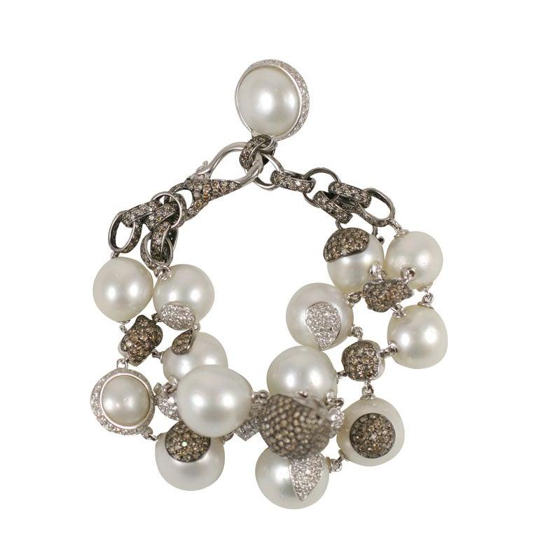 Diamond and Pearl Bracelet