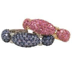 Pink and Blue Sapphire Dinner Bangles