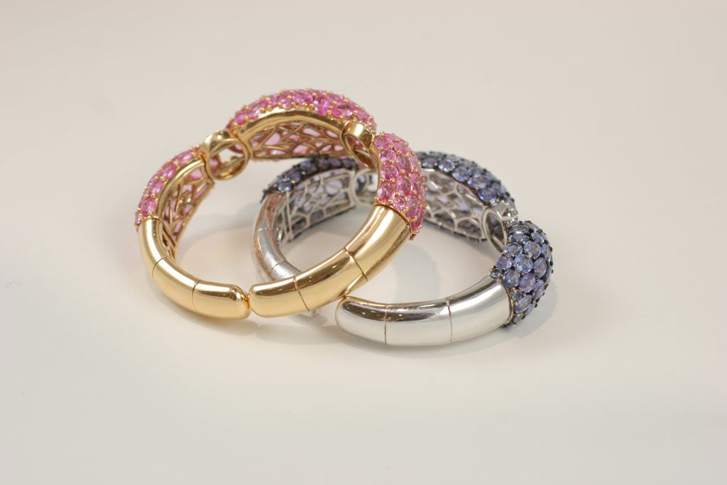 Women's Pink and Blue Sapphire Dinner Bangles For Sale