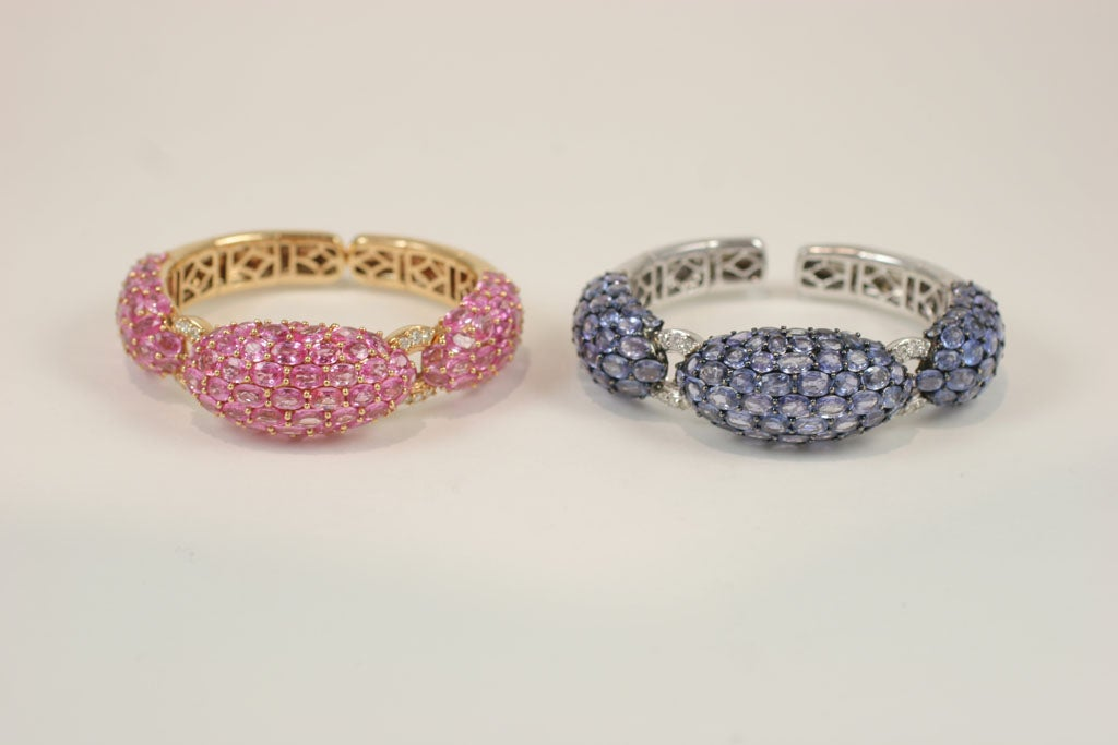 Pink and Blue Sapphire Dinner Bangles For Sale 1
