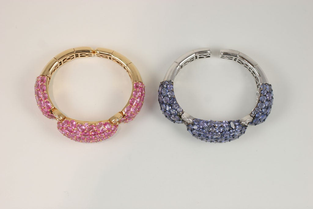 Pink and Blue Sapphire Dinner Bangles For Sale 2